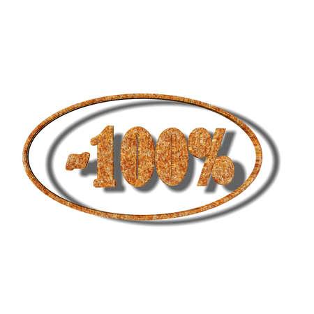 3D illustration, 3D Rendering: 100%, symbol image for investments, interest, discount, profit