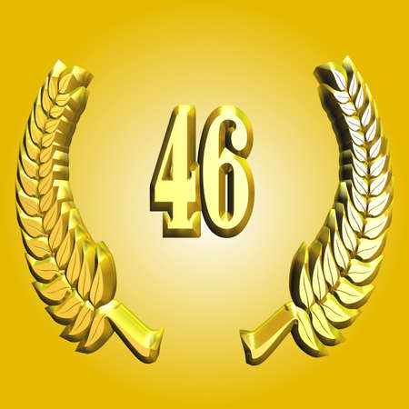 3D Illustration, 3D Rendering: A laurel wreath with the number 46, symbol image for a jubilee, anniversaries, successes Stock Photo
