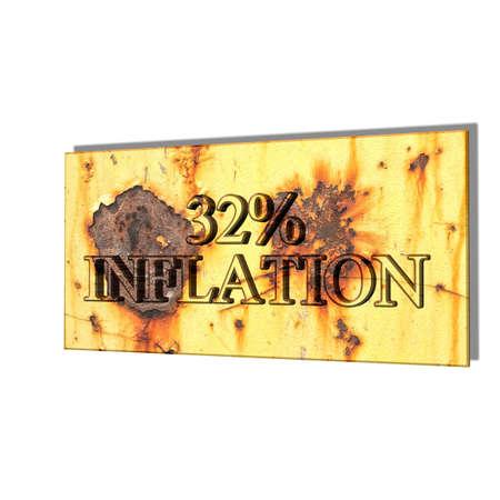 3D illustration, 3D Rendering: 32% inflation, symbol image for price increase, depreciation