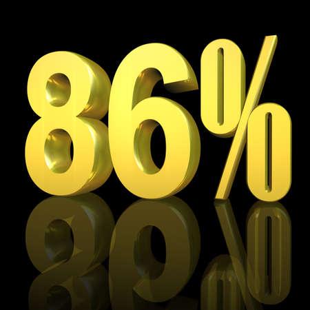 3D illustration, 3D Rendering: 86%, symbol image for investments, interest, discount, profit