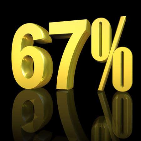 3D illustration, 3D Rendering: 67%, symbol image for investments, interest, discount, profit Stock Photo