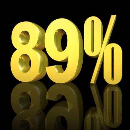 3D illustration, 3D Rendering: 89%, symbol image for investments, interest, discount, profit