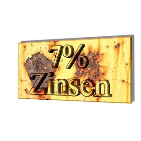 3D illustration, 3D Rendering: 7% interest, symbol image of investment, interest income