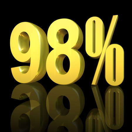 3D illustration, 3D Rendering: 98%, symbol image for investments, interest, discount, profit Stock Photo