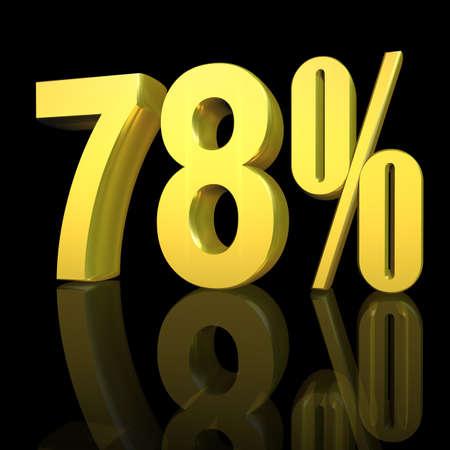 3D illustration, 3D Rendering: 78%, symbol image for investments, interest, discount, profit