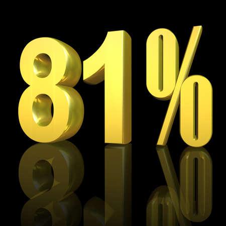 3D illustration, 3D Rendering: 81%, symbol image for investments, interest, discount, profit