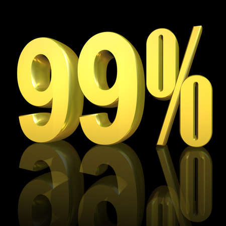 3D illustration, 3D Rendering: 99%, symbol image for investments, interest, discount, profit Stock Photo