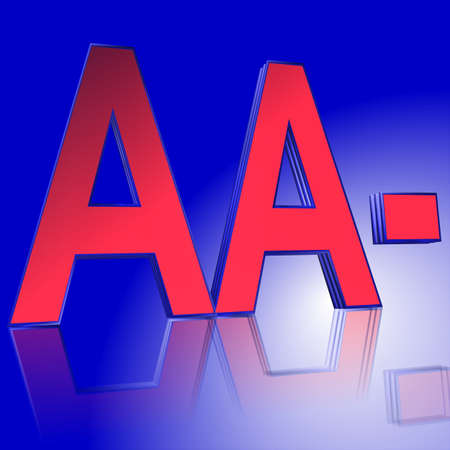 3D Illustration, 3D Rendering: rating or rating code for assessing the creditworthiness of a debtor; Code AA- Stock Photo