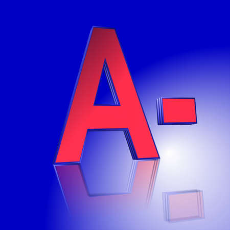 3D Illustration, 3D Rendering: rating or rating code for assessing the creditworthiness of a debtor; Code A- Stock Photo