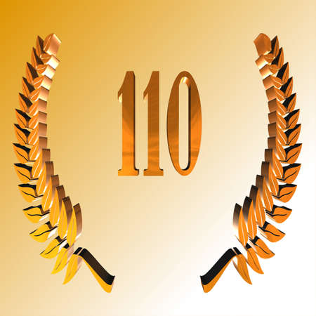 3D Illustration, 3D Rendering: A laurel wreath with the number 110, symbol image for a jubilee, anniversaries, successes