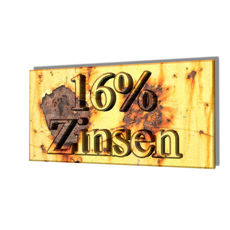 3D illustration, 3D Rendering: 16% interest, symbol image of investment, interest income
