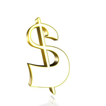 3D Illustrationen, 3D Rendering: US Dollar currency symbol in gold