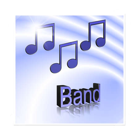 Band Music - 3D illustration, 3D Rendering: symbol image for music, entertainment and culture Stock Photo