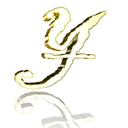 3D Illustrationen, 3D Rendering: yen currency symbol in gold Stock Photo