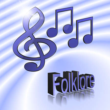Folklore Music - 3D illustration, 3D Rendering: symbol image for music, entertainment and culture