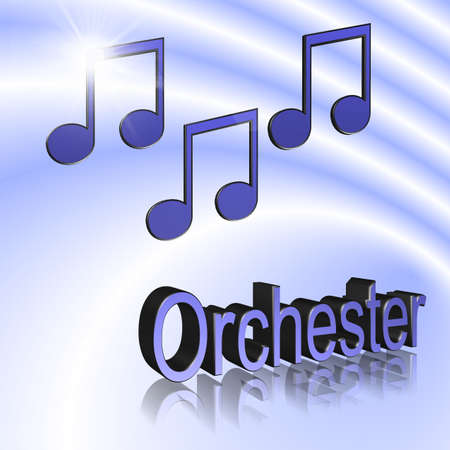 Orchestra Music - 3D illustration, 3D Rendering: symbol image for music, entertainment and culture