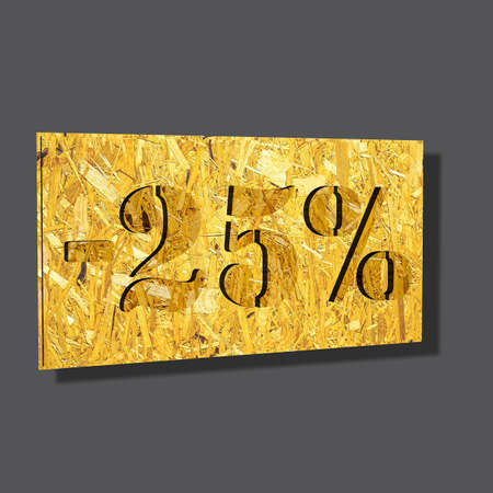 3D illustration, 3D Rendering: 25%, symbol image for investments, interest, discount, profit