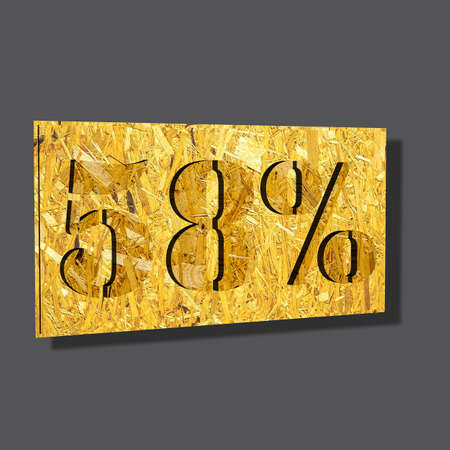 3D illustration, 3D Rendering: 58%, symbol image for investments, interest, discount, profit
