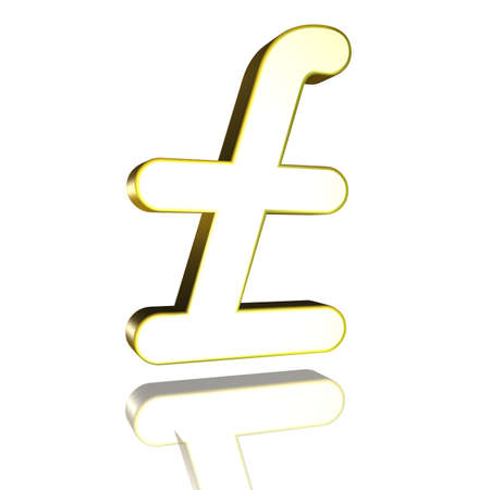 3D Illustrationen, 3D Rendering: pound sterling currency symbol in gold Stock Photo