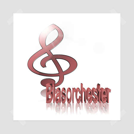 Brass Orchestra Music - 3D illustration, 3D Rendering: symbol image for music, entertainment and culture Stock Photo