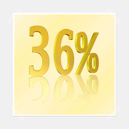 3D illustration, 3D Rendering: 36%, symbol image for investments, interest, discount, profit