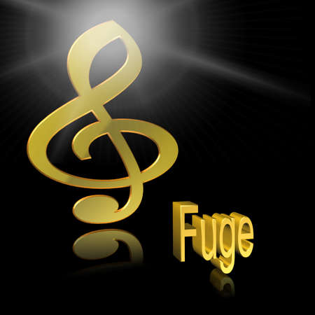 Fugue Music - 3D illustration, 3D Rendering: symbol image for music, entertainment and culture