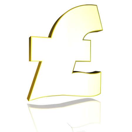 3D Illustrationen, 3D Rendering: pound sterling currency symbol in gold Reklamní fotografie