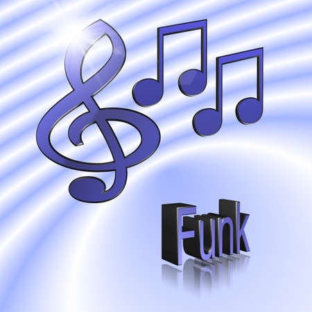 Funk Music - 3D illustration, 3D Rendering: symbol image for music, entertainment and culture
