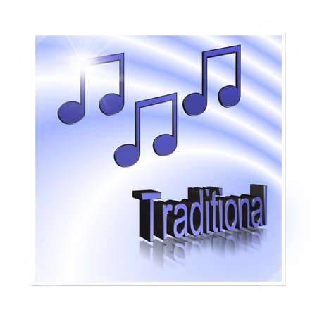 Traditional Music - 3D illustration, 3D Rendering: symbol image for music, entertainment and culture