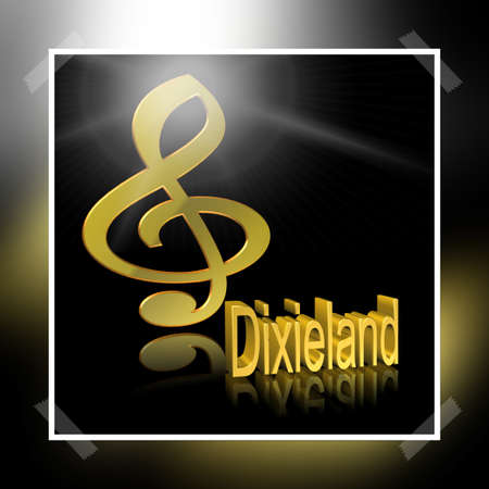 Dixieland Music - 3D illustration, 3D Rendering: symbol image for music, entertainment and culture