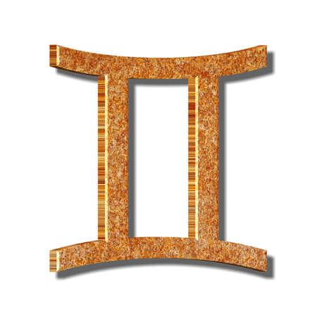 3D Illustration, 3D Rendering: Symbolic image of the zodiac sign Gemini Imagens