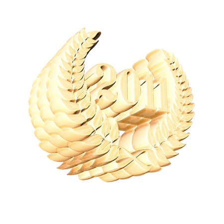 3D Illustration, 3D Rendering: A laurel wreath with the number 2011, symbol image for a jubilee, anniversaries, successes