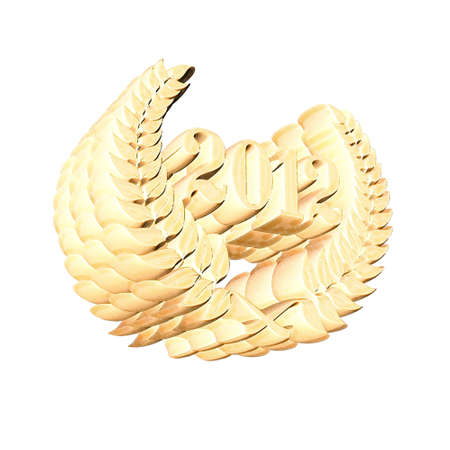 3D Illustration, 3D Rendering: A laurel wreath with the number 2012, symbol image for a jubilee, anniversaries, successes