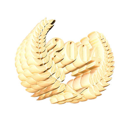 3D Illustration, 3D Rendering: A laurel wreath with the number 2004, symbol image for a jubilee, anniversaries, successes