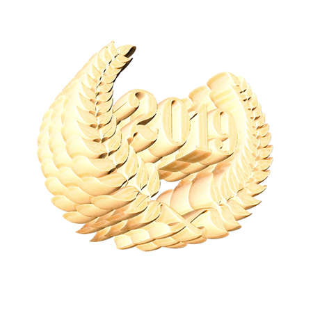 3D Illustration, 3D Rendering: A laurel wreath with the number 2019, symbol image for a jubilee, anniversaries, successes