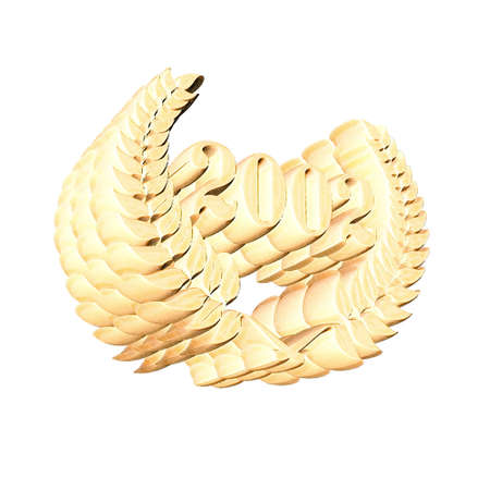 3D Illustration, 3D Rendering: A laurel wreath with the number 2002, symbol image for a jubilee, anniversaries, successes