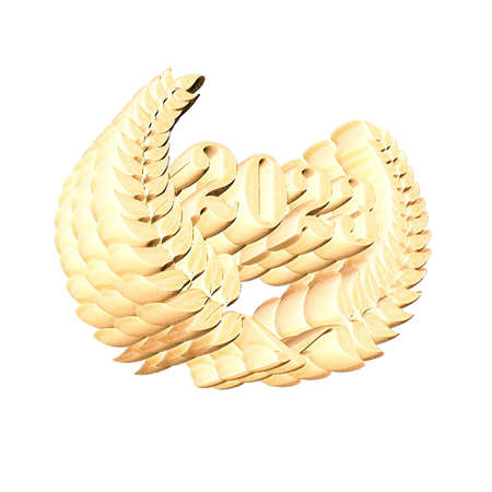 3D Illustration, 3D Rendering: A laurel wreath with the number 2023, symbol image for a jubilee, anniversaries, successes