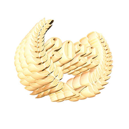 3D Illustration, 3D Rendering: A laurel wreath with the number 2022, symbol image for a jubilee, anniversaries, successes 스톡 콘텐츠