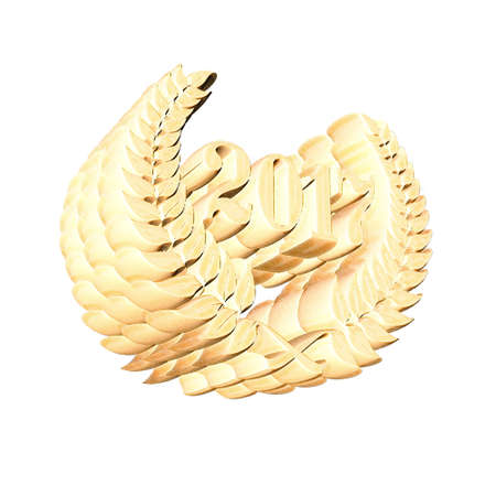 3D Illustration, 3D Rendering: A laurel wreath with the number 2017, symbol image for a jubilee, anniversaries, successes 스톡 콘텐츠