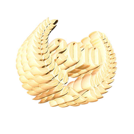 3D Illustration, 3D Rendering: A laurel wreath with the number 2010, symbol image for a jubilee, anniversaries, successes