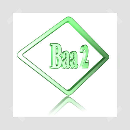 3D Illustration, 3D Rendering: rating or rating code for assessing the creditworthiness of a debtor; Code Baa2