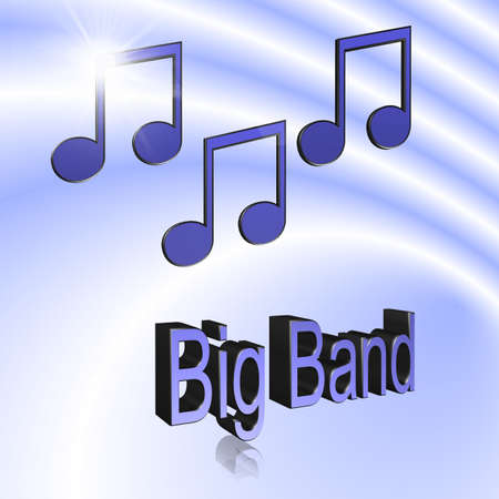 Big Band Music - 3D illustration, 3D Rendering: symbol image for music, entertainment and culture