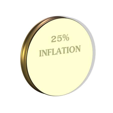 3D Illustration, 3D Rendering: 23% Inflation, Symbolbild für Preissteigerung, Geldentwertung Stockfoto