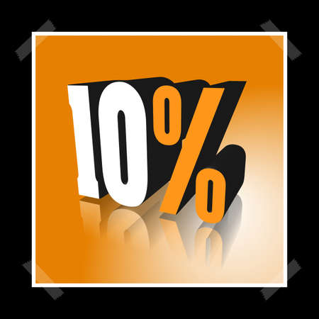 3D illustration, 3D Rendering: 10%, symbol image for investments, interest, discount, profit