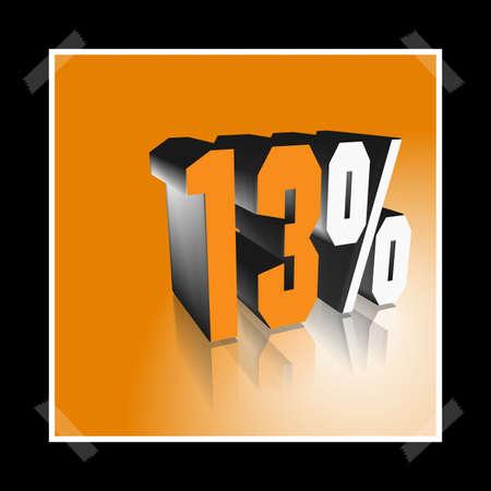 3D illustration, 3D Rendering: 13%, symbol image for investments, interest, discount, profit