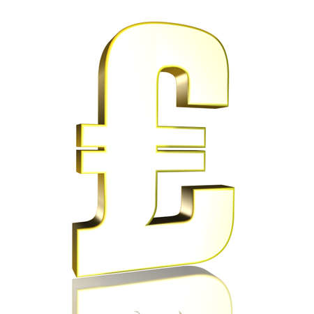 3D Illustrationen, 3D Rendering: pound sterling currency symbol in gold Reklamní fotografie