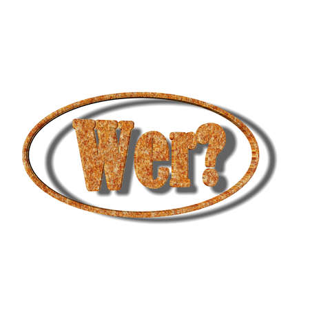 3D Illustration, 3D Rendering: Question or question word Who