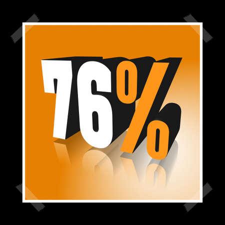 3D illustration, 3D Rendering: 76%, symbol image for investments, interest, discount, profit
