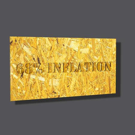 3D Illustration, 3D Rendering: 68% Inflation, Symbolbild für Preissteigerung, Geldentwertung