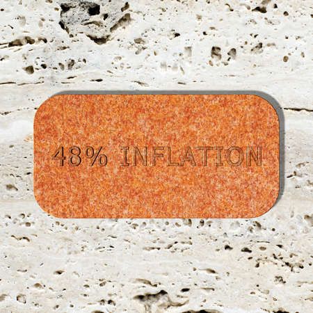 3D Illustration, 3D Rendering: 48% Inflation, Symbolbild für Preissteigerung, Geldentwertung